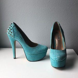 Steve Madden turquoise spiked stilettos